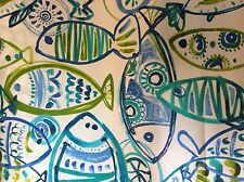 FUNKY FISH STYLIZED PRINT AQUA COBALT BLUE LIME GREEN OUTDOOR UPHOLSTERY  FABRIC