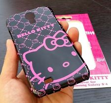 For Samsung Galaxy S4 - HARD SKIN CASE COVER PINK BLACK SANRIO HELLO KITTY