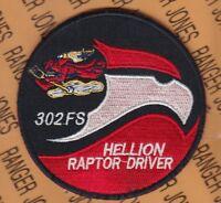 "USAF Air Force 302 Fighter Squadron HELLION RAPTOR DRIVER FS Black 3.75"" patch"
