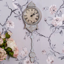 Cream Pendulum Clock Wall Mounted Ornate Roman Numerals Vintage Chic Home