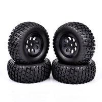 4Pcs Short Course Car 12mm Hex Tires & Wheel For RC 1:10 TRAXXAS SLASH HPI Truck