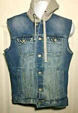 Arizona Jeans Denim Sleeveless Hooded Jacket Medium