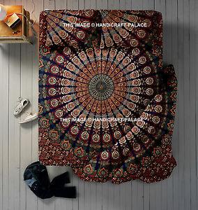 Queen Mandala Indian Duvet Doona Cover With Bed Sheet & Pillows 4 Pc Set Blanket