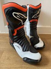 Alpinestars S-MX6 Motorcycle Sport Boots White Black Orange UK 8.5 / 9 EUR42