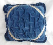 Vintage Blue Velvet Throw Pillow Hollywood Regency Tufted Lace Braid