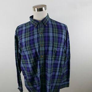 Izod Mens Polyester Blend LS Button Up Olive Green Purple Plaid Dress Shirt XXL