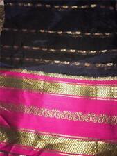 Navy Pink Gold Woven Sari Indian Saree Bollywood Fabric Panel Drape