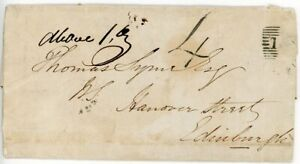 """SCOTLAND Rare 1847 cover with Haddington """"4"""" Postage Due handstamp. Only 1 known"""
