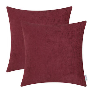 2Pcs Burgundy Cushion Covers Pillow Shell Solid Dyed Soft Chenille 16x16 Inches