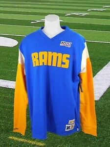Men's Mitchell & Ness NWT NFL Throwback Long Sleeve LA Los Angeles Rams Size XL