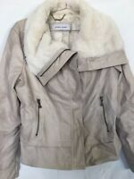 BLACK RIVET Beige  LEATHER JACKET FAUX FUR COLLAR Women's Size Large Pre-Owned