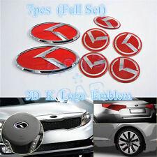 7pcs K LOGO Emblems/Badges Grille Front/Trunk Rear Badges for KIA Optima K5 Red