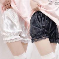 Lady Satin Knickers Panties Pumpkin Bloomer Shorts Lace Underpants Underwear New