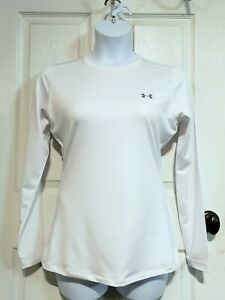 Under Armour Women's UA Coldgear Fitted Crew Neck L/S Baselayer White (Large)