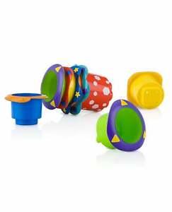 5x Nuby Baby Splish Splash Stacking Cup Toys / Infant Building Beakers Bath Toy