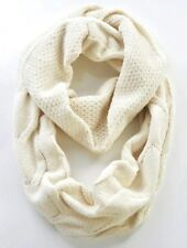 J Jill Infinity Scarf Off White Ivory NEW Soft Chenille Cable Knit Moss Stitch