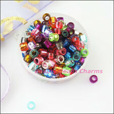 500Pcs Mixed Acrylic Plastic Barrel Tube Spacer Beads Charms 4mm