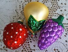 3 Vintage Glass Christmas Tree Ornaments Strawberry Grape Bunch Pear Fruit