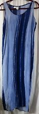 Cherokee Blue Striped L Rayon Sleeveless Dress Maxi