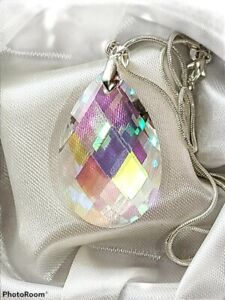 Crystal AB Prism 38mmx22mm Faceted Pendant 925 Sterling Silver chain