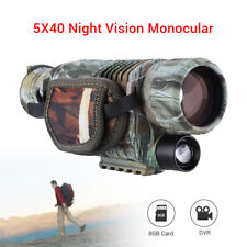 BOBLOV 5X40 Infrared Dark Night Vision Monocular 8GB DVR Telescopes for Hunting