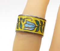 SIAM 925 Silver - Vintage Enamel Coated Flower Pattern Band Ring Sz 6 - R15502
