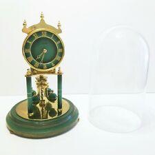 VINTAGE KUNDO ANNIVERSARY BRASS GLASS DOME CLOCK WITH RARE GREEN PENDULUM & DIAL
