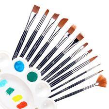 12Pcs Nylon Brush Brushes for Oil Watercolor Artist Painting Art Paint+Plate