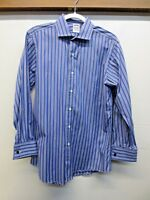 EUC Brooks Brothers Makers and Merchants Shirt Blue Striped Made in USA 15.5 32