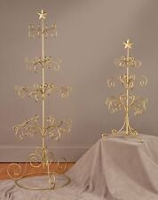 """Metal 27"""" Christmas Ornament Display Tree Decor Stand Gold Color w/ Star Finial"""