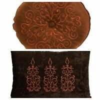 Decorative Embroidered Throw Pillow~Only  Rectangle~Brown/Orange Remaing