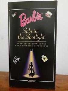 Barbie Solo in the Spotlight Ltd Edition Clock w/Figurine & Pedestal Rare Vtg