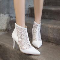 Original Mesh Sandals Boots Women's High Heels Shoes Ankle Pumps Lace Plus Size