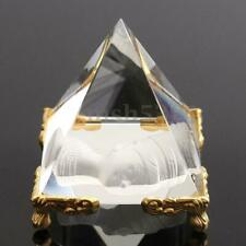 2inch Pharaoh Crystal Pyramid Egypt Clear Quartz Stone Table Decor Golden Stand