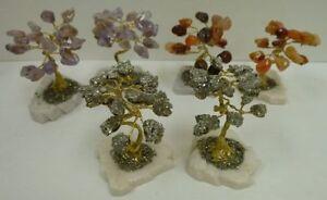 Bonsai Tree made with Semiprecious Stones Iron Pyrite Amethyst Carnelian Healing