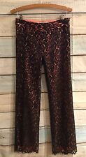 TRINA TURK Black Lace Pants w/Bright Peachy/Salmon Orange Size 2 (XS) 30""