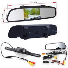 """4.3"""" TFT LCD Car Rearview Mirror Monitor Parking Backup Camera Kit Night Vision"""