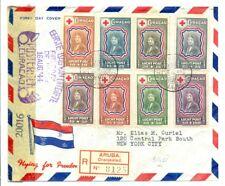 CURACAO 1944-8-16 REG FLIGHT CV ARUBA TO NEW YORK -CENSORS- RED CROSS - F/VF