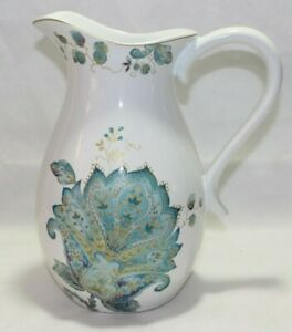 222 Fifth Norah Teal  Porcelain Beverage Pitcher Turquoise Floral Paisley New