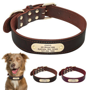 Personalised Dog Collar Tag Custom Real Leather Pet Name ID Engraved Brown Red
