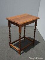 Antique French Country Tiger Oak Barley Twist Side Table ~ Entry Table