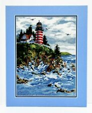 Lighthouse Finished Needlepoint Ocean Sea Cliff Nautical Nantucket Beach Decor
