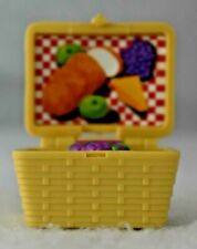 Loving Family Dollhouse Wicker Picnic Basket with Food and Flower Latch Flip Top