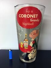 Vintage VTG Huge Coronet Brandy Highball Liquor Store Promo Glass Paul Rand HTF