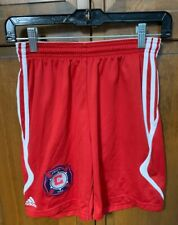 adidas Chicago Fire Soccer Club MLS Boys L Shorts Red Football Old Badge Logo
