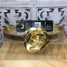 Lazybonezz Gold Metallic Flower Fashion Dog Collar Size Large