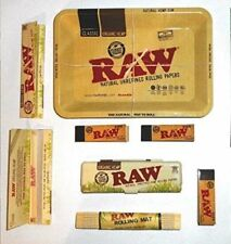 RAW Mini Tray, Organic Tin, Rolling Papers, Tips, Bamboo Mat Smoking Set Deal