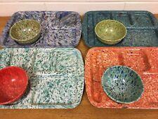Lot 8 School Lunch Tray Bowl Melamine PROLON Melmac Confetti Speckle Marbled