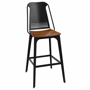 New Emory Bar Stool with Matte Black Powder Coat and Wood Seat