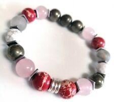 Pyrite, Rose Quartz, Red Sea sediment beads & Links Of London silver Bracelet